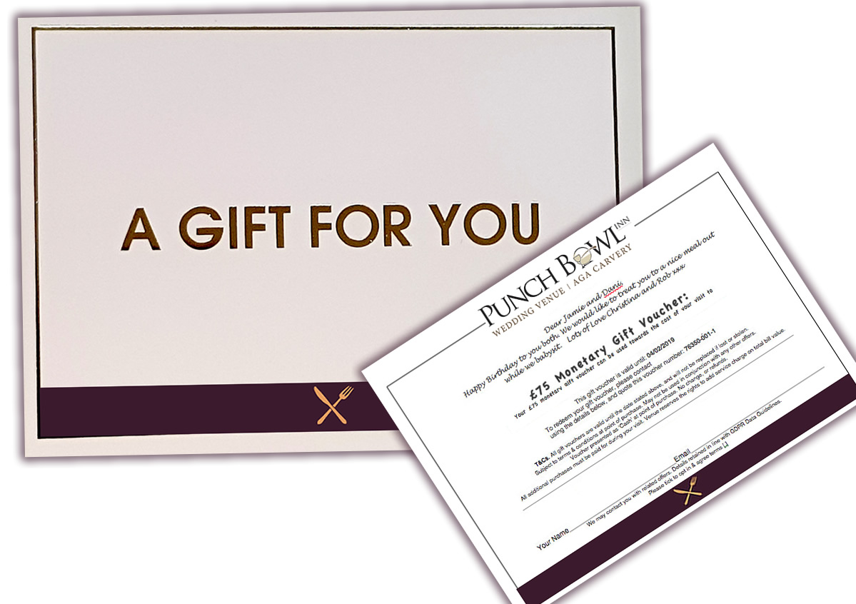 Gourmet Gift Card pack punch bowl